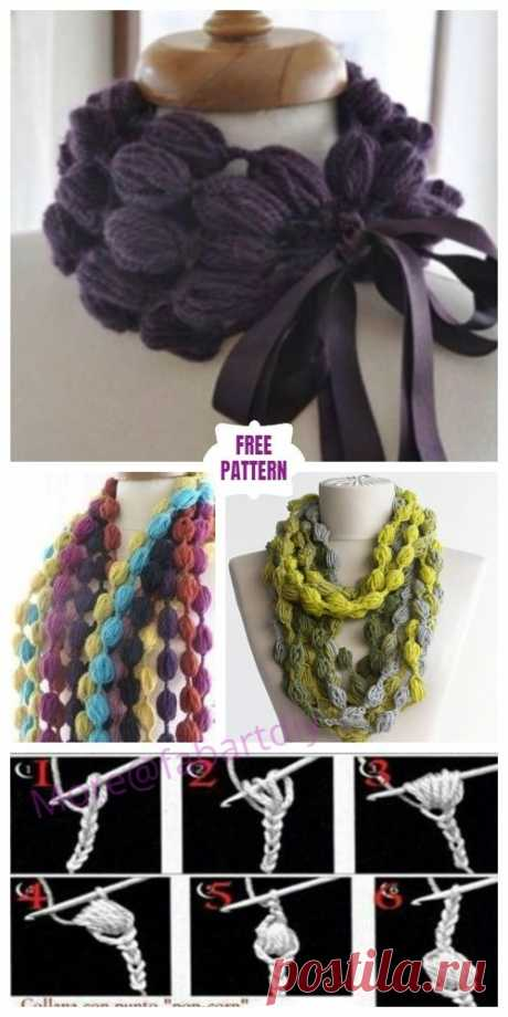 Crochet Pom Pom Puff Popcorn Stitch Scarf Free Crochet Pattern is interesting Scarf for cold weather and necklace or belt for warm weather.