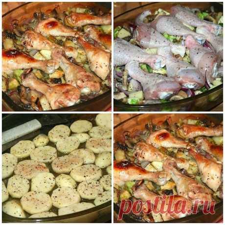 Как приготовить куриные голени запечённые с грибами и овощами  - рецепт, ингредиенты и фотографии