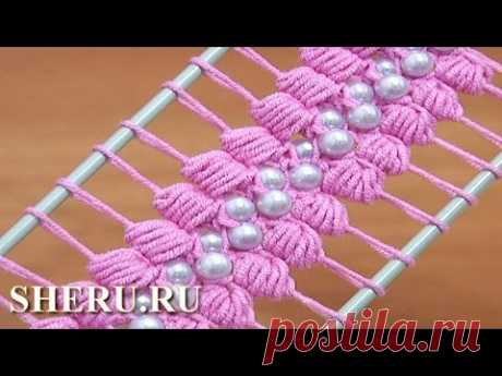 Crochet Hairpin Beaded Lace Tutorial 38 the Tape on a fork with beads