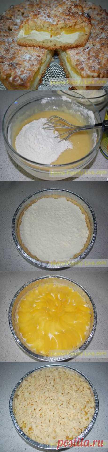 Пирог из песочного теста с творогом и абрикосами - Кулинарные рецепты