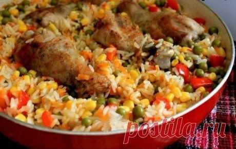 Курица с рисом и овощами по-каталонски — Sloosh – кулинарные рецепты