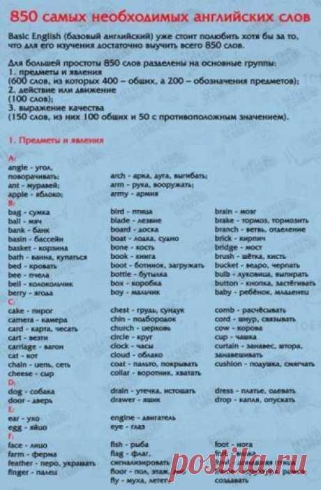 850 слов на английском языке, выучив которые, вы будете свободно говорить! Забери себе на стену, чтобы не потерять! ...
