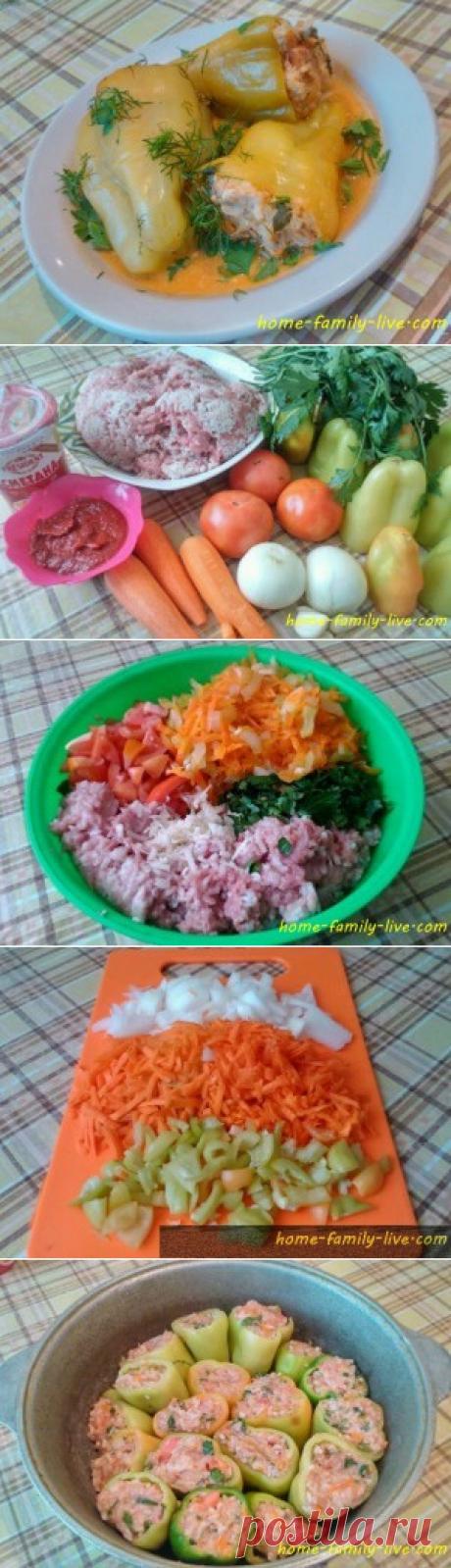 Фаршированный перец в томатно-сметанном соусе/Сайт с пошаговыми рецептами с фото для тех кто любит готовить