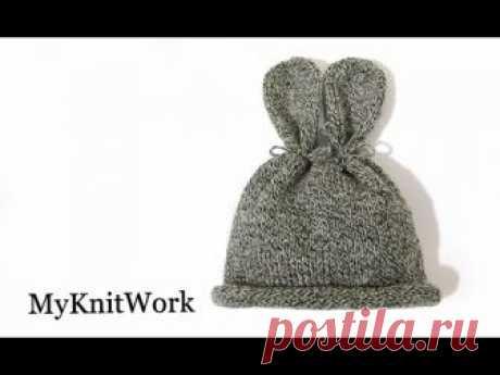 Шапочка Зайка для новорожденного. Bunny hat.