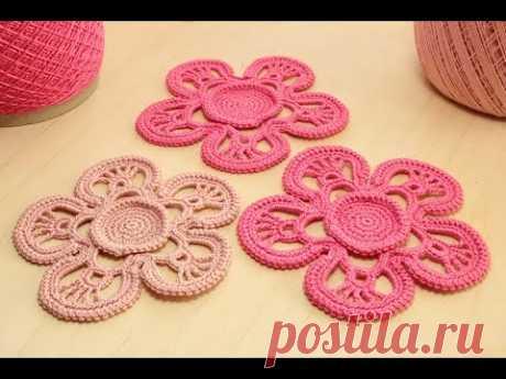 Вязание ЦВЕТКА с обвязкой шнуром гусеничка - ЧАСТЬ 1   How to crochet a flower