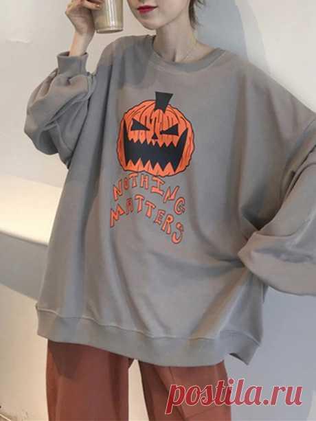 Women Halloween Pumpkin Back Letter Print Crew Neck Relaxed Fit Sweatshirts - US$16.99