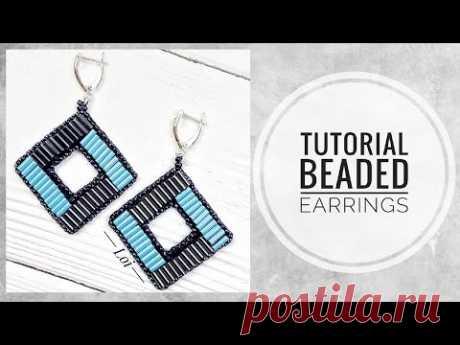#МК - Серьги ромбы вышитые стеклярусом | #Tutorial - Diamond earrings embroidered with glass beads