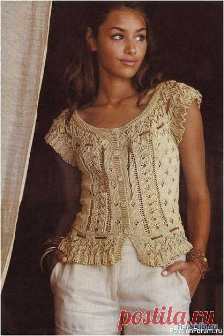 Ажурная кофточка BERGERE   Вязание для женщин спицами. Схемы вязания спицами