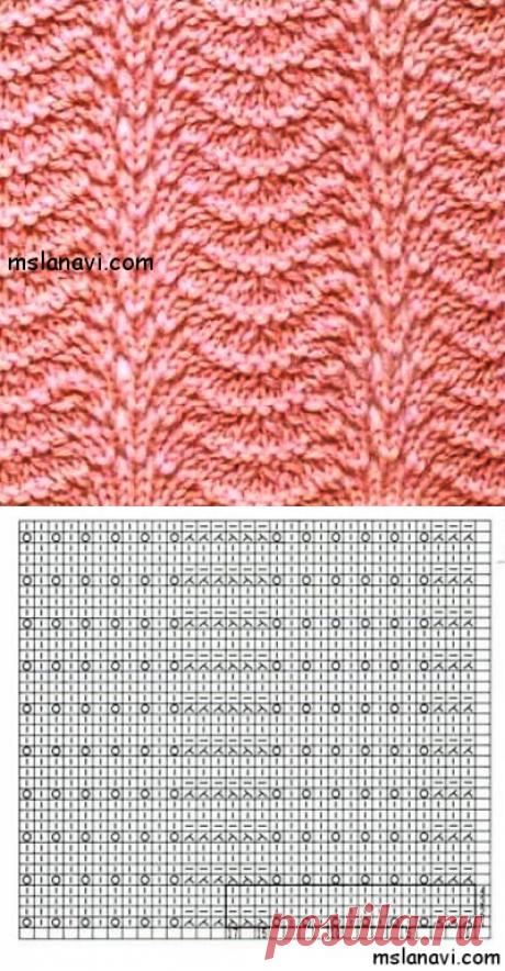Японский ажурный узор спицами №149   Вяжем с Лана Ви