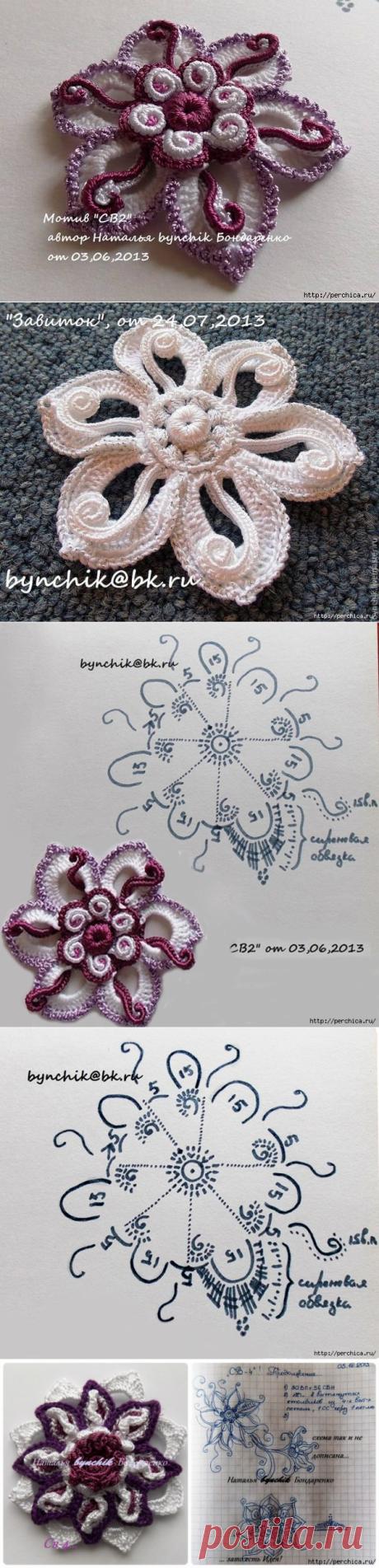 Цветы и листья с завитками - Мк