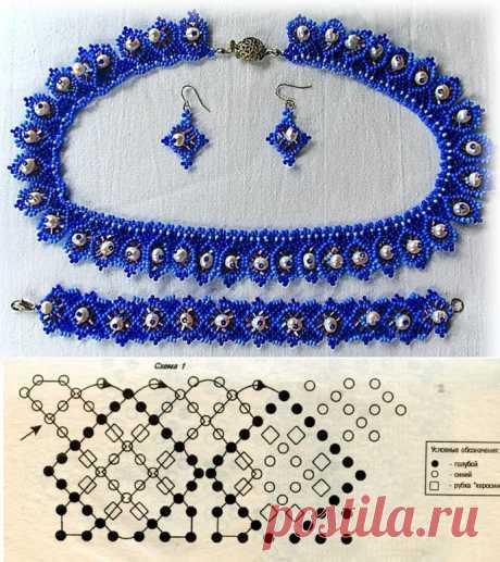Комплекты «Весенний» и «Синева» Браслеты из бисера, Колье, бусы, ожерелья из бисера, Серьги из бисера – Бисерок
