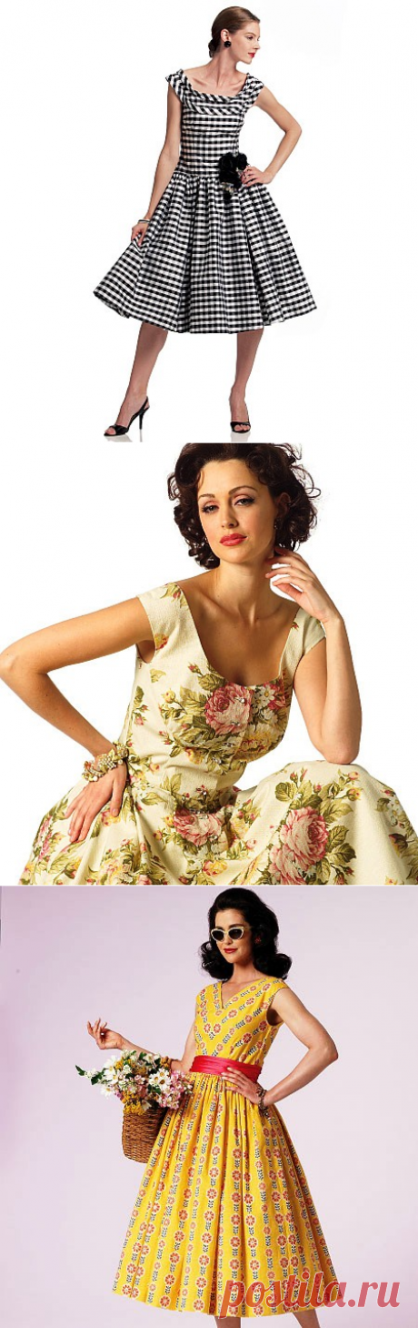 Models of dresses of the 50th years with patterns and without...)))