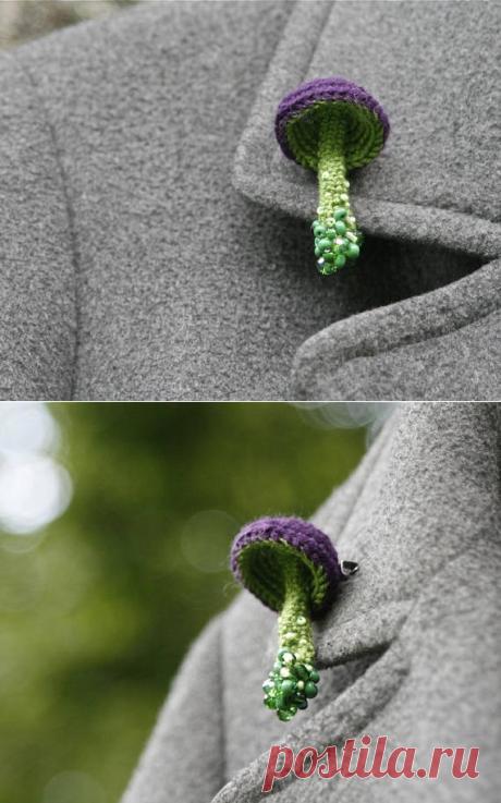 Beaded mushroom crochet brooch whimsical jewelry