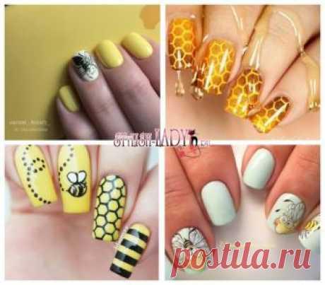 Пчела на ногтях - идеи яркого летнего маникюра