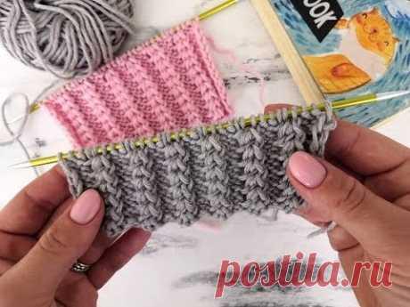 Объемный рельефный узор-резинка спицами для вязания шапок, снудов, кардиганов, свитеров