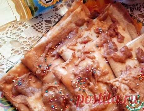 Банановые блинчики со сливочным сыром и карамелью – кулинарный рецепт