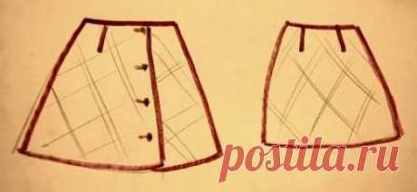 Выкройка юбки трапеции с запахом  Построение основы юбки можно сделать по-разному. Т.к. я не знаю фигуру, то лучше взять проверенную основу прямой юбки.  Построение выбрано, теперь определяемся с мерками.  Мерки на стандартный 42-ой размер: ОТ = 65 см ОБ = 92 см  Делаем расчет:  1. Строим прямой угол в точке Т. От точки Т вниз откладываем длину юбки: ТН = Дю. Длину юбки сделаем 50 см.  2. От точки Т вниз откладываем 17 см и ставим точку Б.  3. От точки Б вправо откладываем...