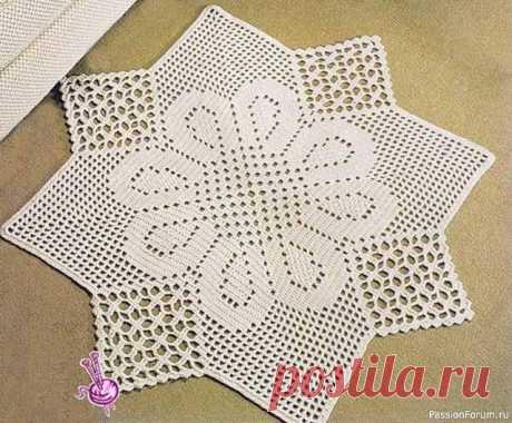 Квадратные коврики связанные крючком. Схемы | Вязаные крючком аксессуары