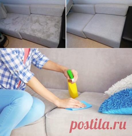 Как очистить диван минералкой