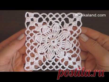 Crochet Easy Flower Square Motif #2