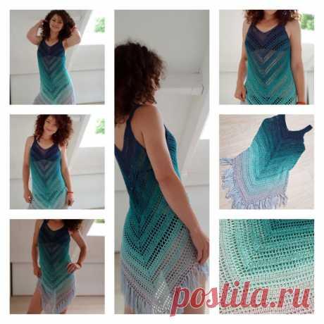 Невероятное летнее платье для пляжа! Очень красивый узор!