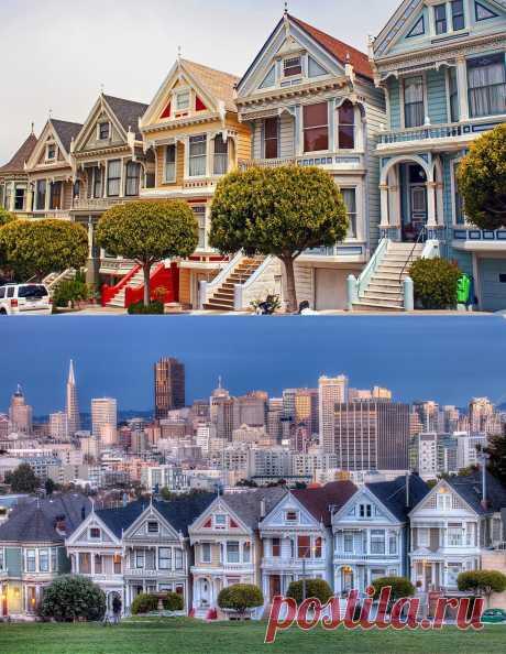 Яркая достопримечательность Сан-Франциско викторианские дома Painted Ladies : НОВОСТИ В ФОТОГРАФИЯХ