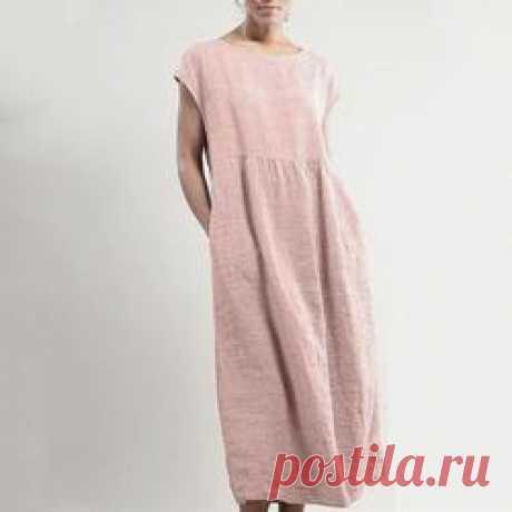 Однотонное платье из хлопка без рукавов - цвет лепесток