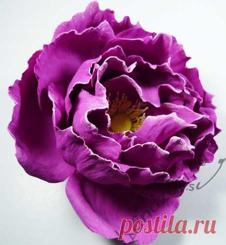 "Мастер-класс: как сделать бурбонскую розу ""Барон Жиро де л'Эн"" из фоамирана Мастер-класс изготовления бурбонской розы ""Барон Жиро де л'Эн"" из фоамирана, подробные фото"