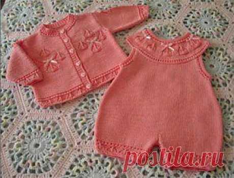 Розовый комплект (из серии Вязание для детей)   Вязание спицами, крючком, уроки вязания