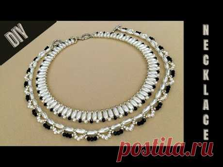 . How to make elegant necklaces with beads. Necklace patterns. DIY beaded necklace