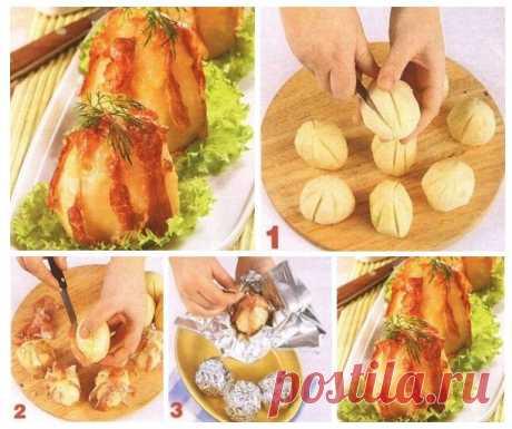 Картофель запеченный в фольге с сыром и ветчиной — Sloosh – кулинарные рецепты