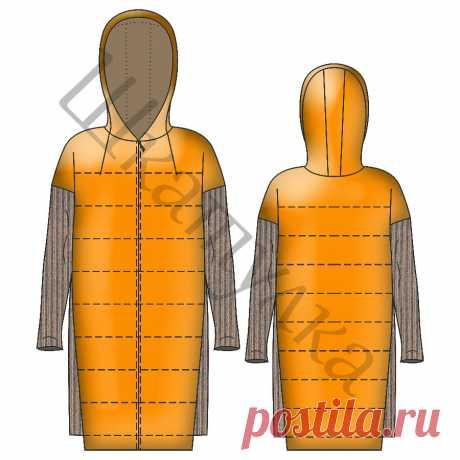 Выкройка комбинированного стеганного пальто WC050419 | Шкатулка