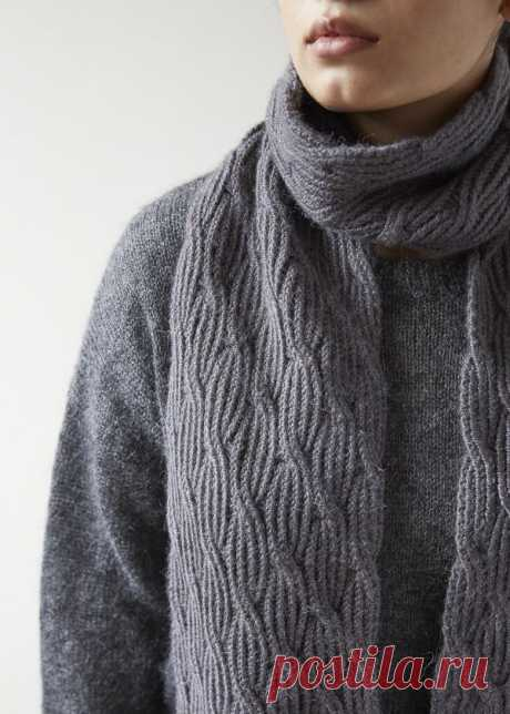 Trout Brown Reversible Rivulet Scarf | Free Knitting Pattern by Purl Soho