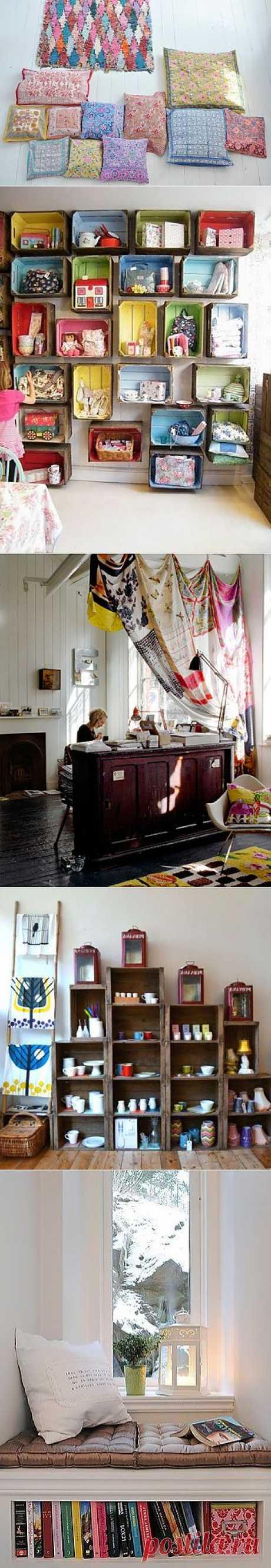 Подушки и шторы из платков и мебель из коробок! / Платки / Модный сайт о стильной переделке одежды и интерьера