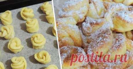 Творожное печенье «Роза»: потратила всего 20 минут, а едим всей семьей уже целую неделю! Из холодильника достала, поставила чайничек...
