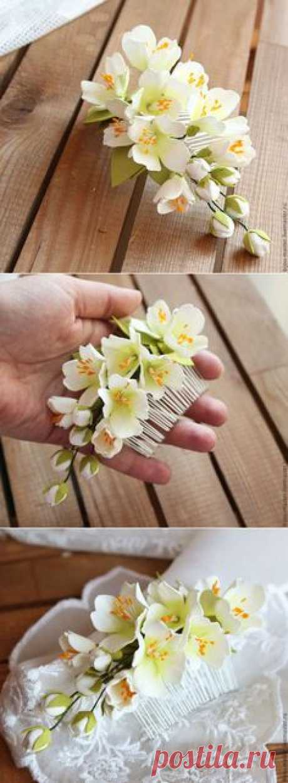 Купить гребень ЖАСМИН - белый, айвори, жасмин, цветы жасмина, гребень с жасмином, заколка с жасмином