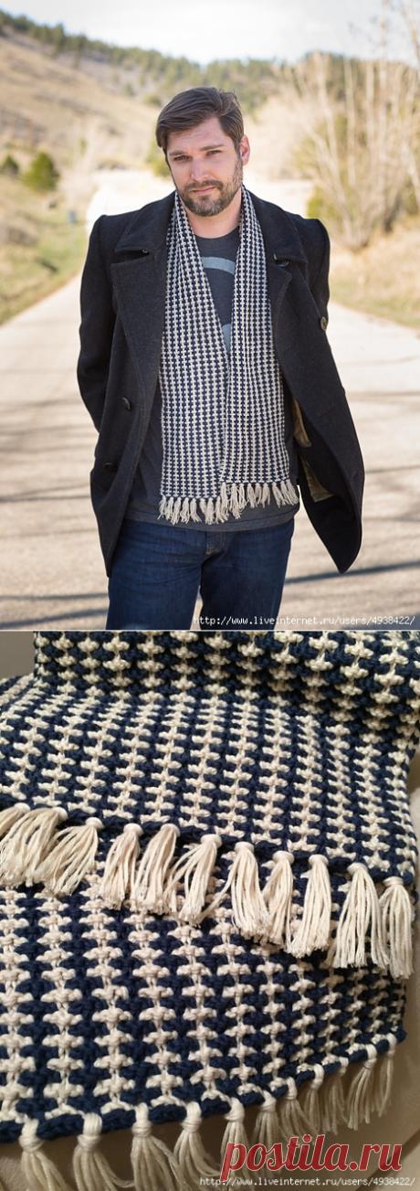 Двухцветный мужской шарф. Stout Scarf by Felecia O'Connell.