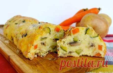 Картофельный рулет с грибами и овощами