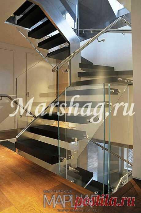 Изготовление лестниц, ограждений, перил Маршаг – Ограждения консольной лестницы из стекла