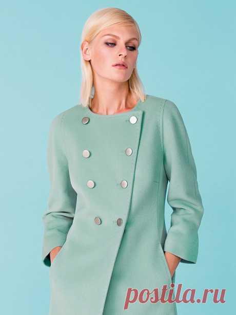 Пальто женское демисезонное цвет нефрит, Ворс, артикул 3014820p00049