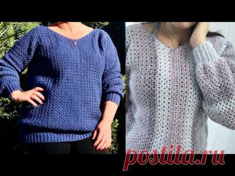 Two by Two V-Neck Pullover Sweater Crochet Tutorial RIGHT HANDED