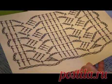 Голубой УЗОР , Вязание КРЮЧКОМ ,разбор узора ,crochet pattern ( узор № 303)
