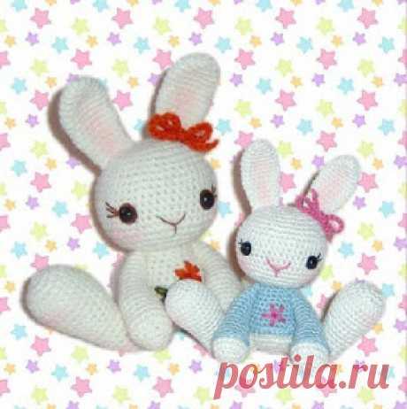 AmiguRoom: вяжем амигуруми: Белые зайцы. Схема вязания