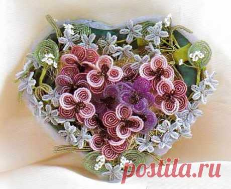 A bouquet of flowers from beads. Gift for Valentine's Day