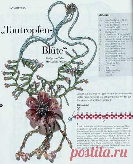 Ideal flower from beads. Schemes.