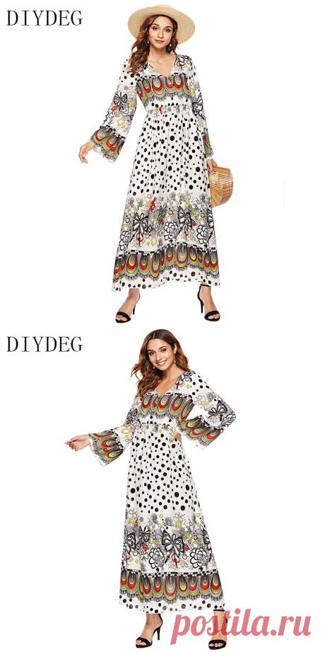 DIYDEG 2018 осеннее богемное Модное Новое женское длинное платье с v образным вырезом и принтом с длинными рукавами купить на AliExpress