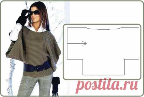 Пончо поперечным вязанием Oversize - стиль свободы в одежде.