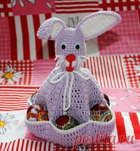 Схема Пасхальный заяц подставка для яиц, как связать крючком?