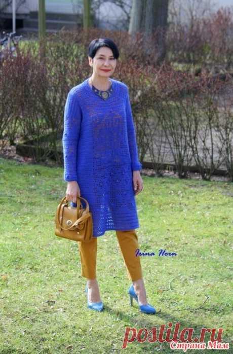 Синее платье прямого силуэта в филейной технике для сестры. Крючок - Вязание - Страна Мам