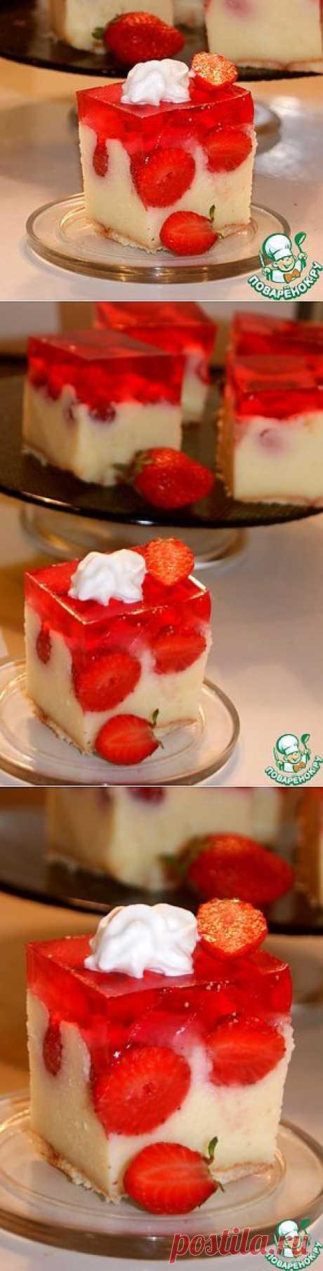Необычный торт с клубничным желе - кулинарный рецепт